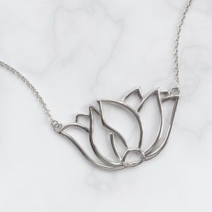 Jewelry - Large Sterling Silver Lotus Necklace